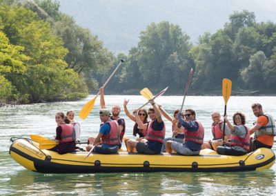 Soft-rafting at sunset and aperitif in osteria